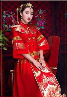 复古秀禾服中式礼服,中国风新