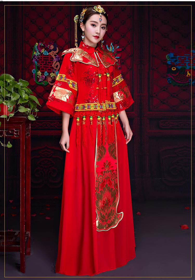 复古秀禾服中式礼服,中国风新娘结婚礼服