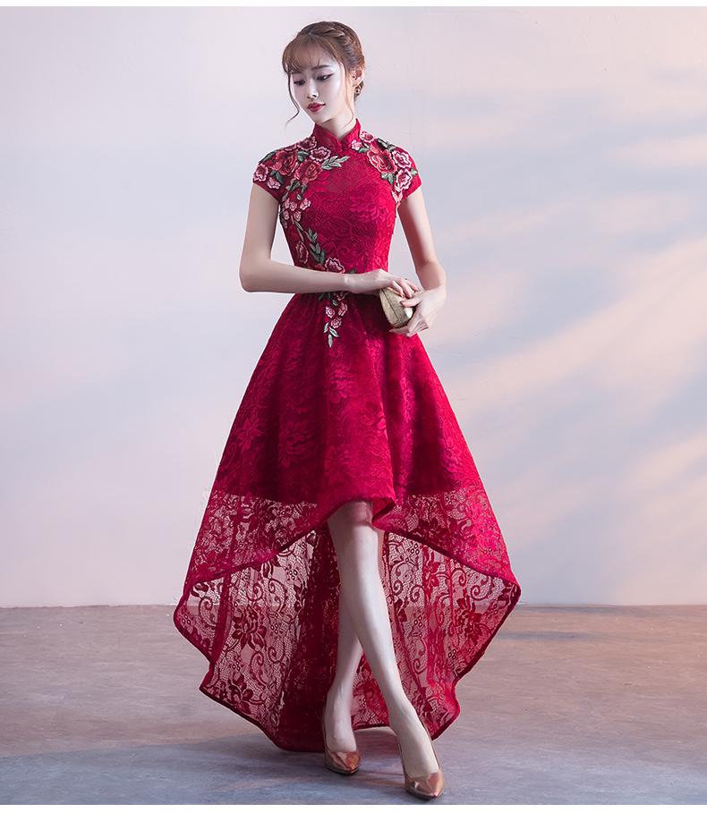 端庄优雅中式礼服,前短后长晚礼服