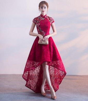 端庄优雅中式礼服,前短
