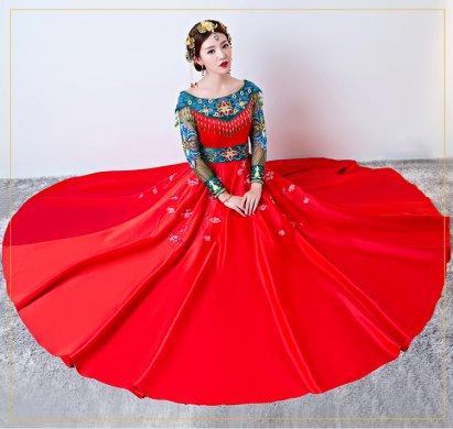 时尚一字肩中式礼服,复古中国