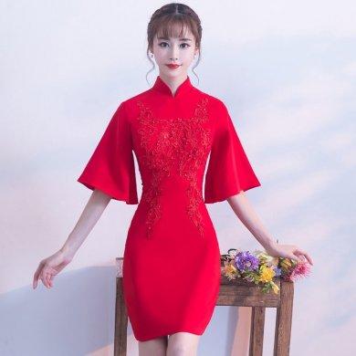 气质小礼服裙,短款红色中式礼
