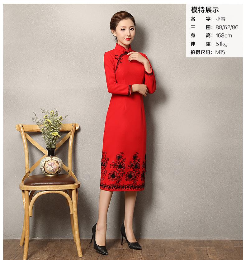 复古之美红色旗袍,蕾丝花纹修身旗袍裙