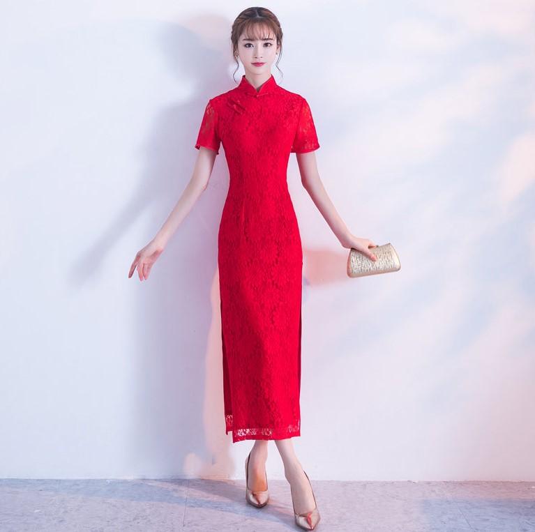 性感开叉红色旗袍,蕾丝花纹旗袍礼服裙