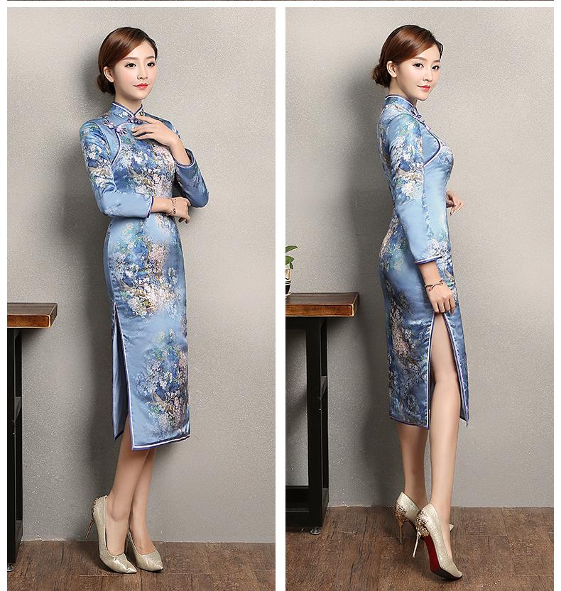 蓝色印花开叉旗袍,时尚优雅旗袍裙