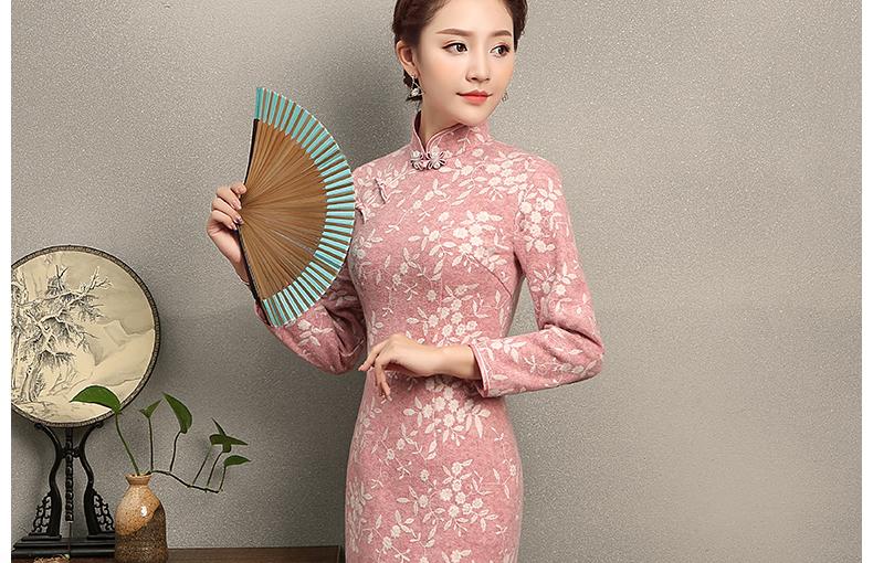 蒂香中长款旗袍,粉嫩清纯旗袍裙