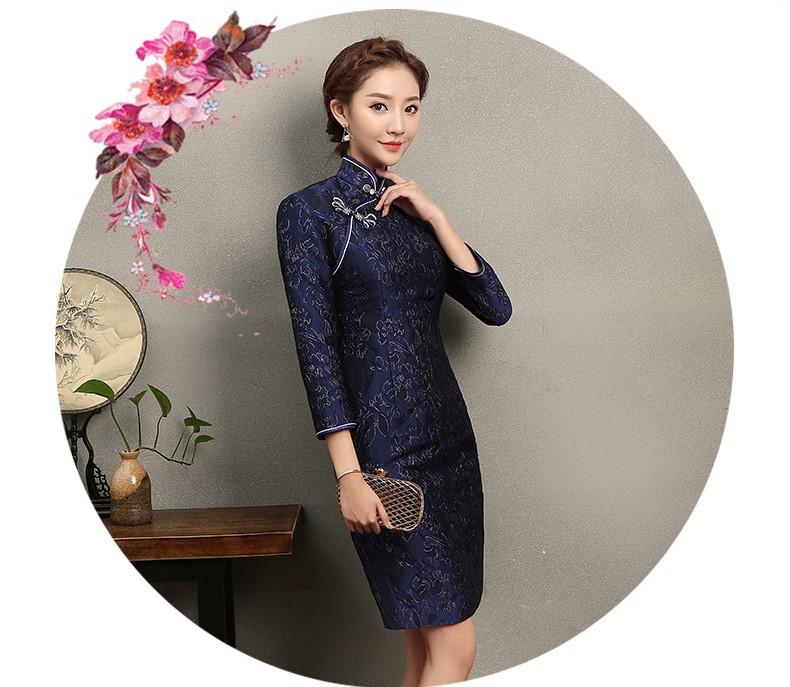 蓝思印花中长款旗袍,端庄大气旗袍裙