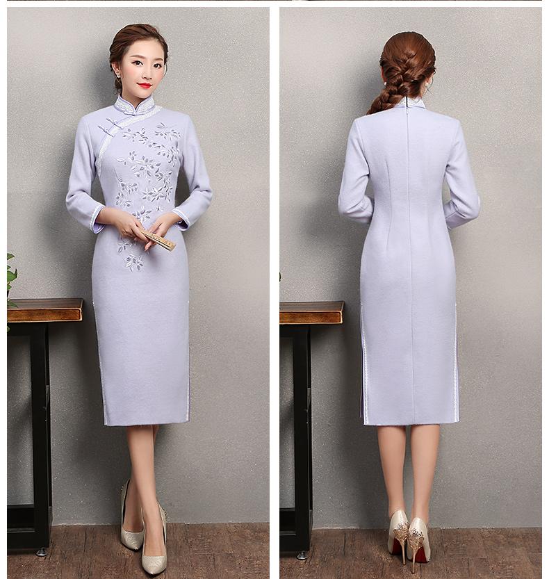 紫色繁花旗袍,复古刺绣旗袍裙