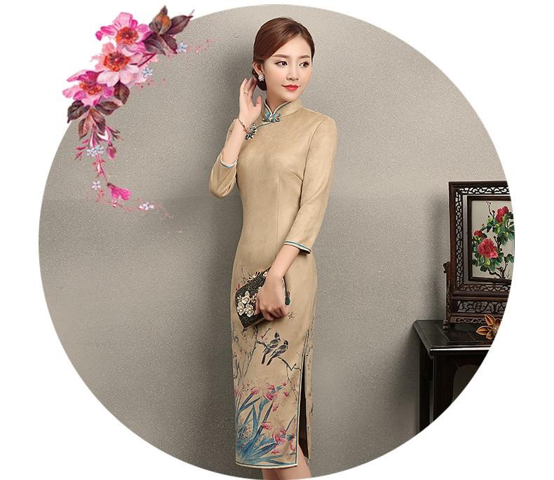 黄色印花相依旗袍,复古民族风旗袍裙