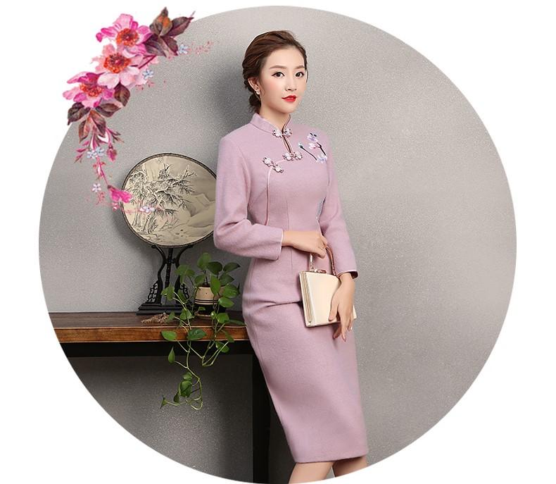 粉紫色绣花旗袍,复古民族风旗袍裙