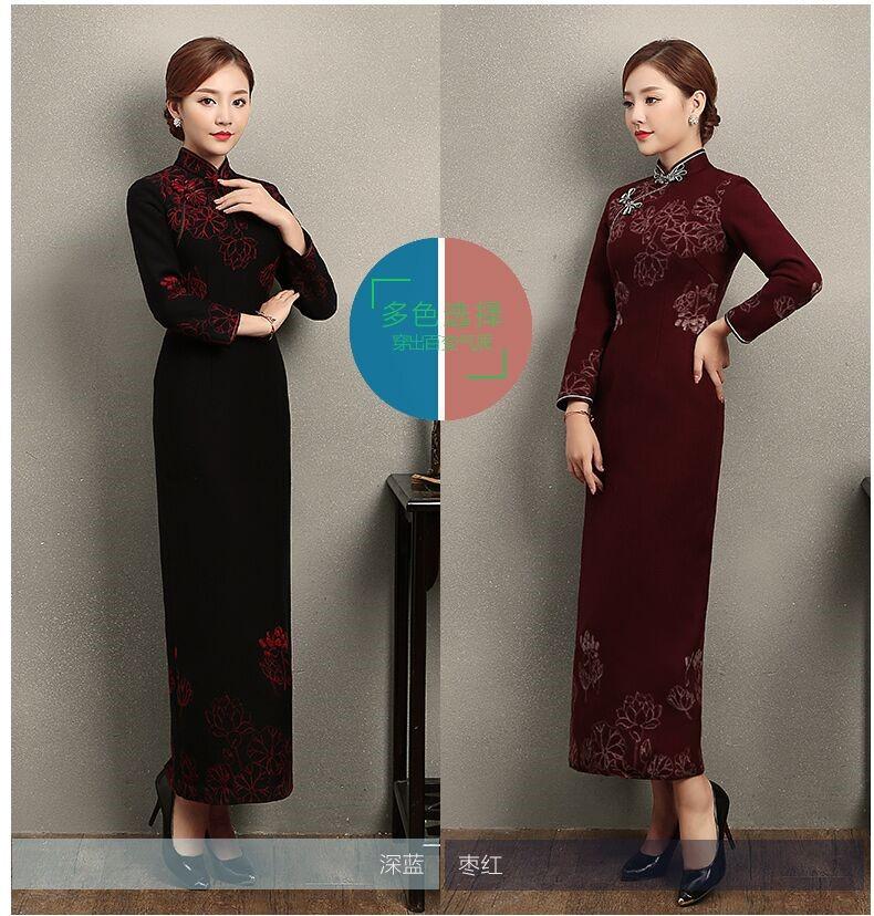 中国风荷花刺绣旗袍,复古中式旗袍裙