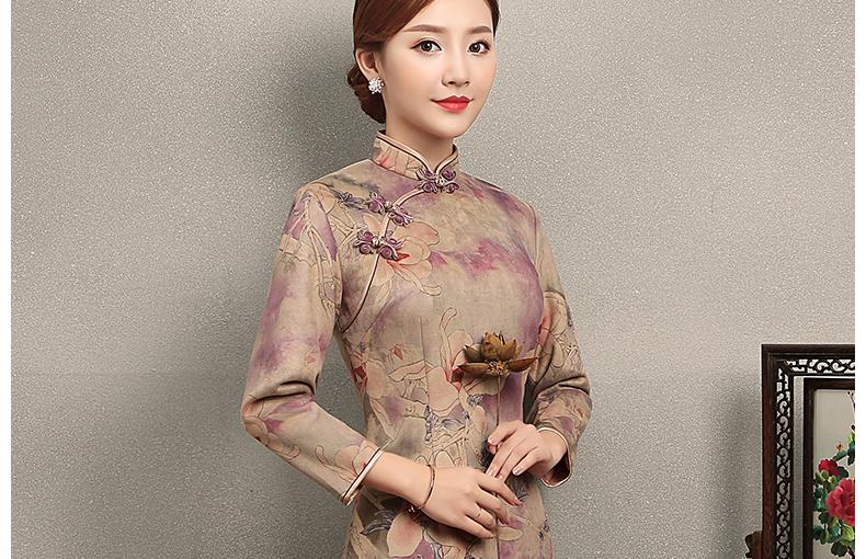 杏灰紫玉兰印花旗袍,复古旗袍裙
