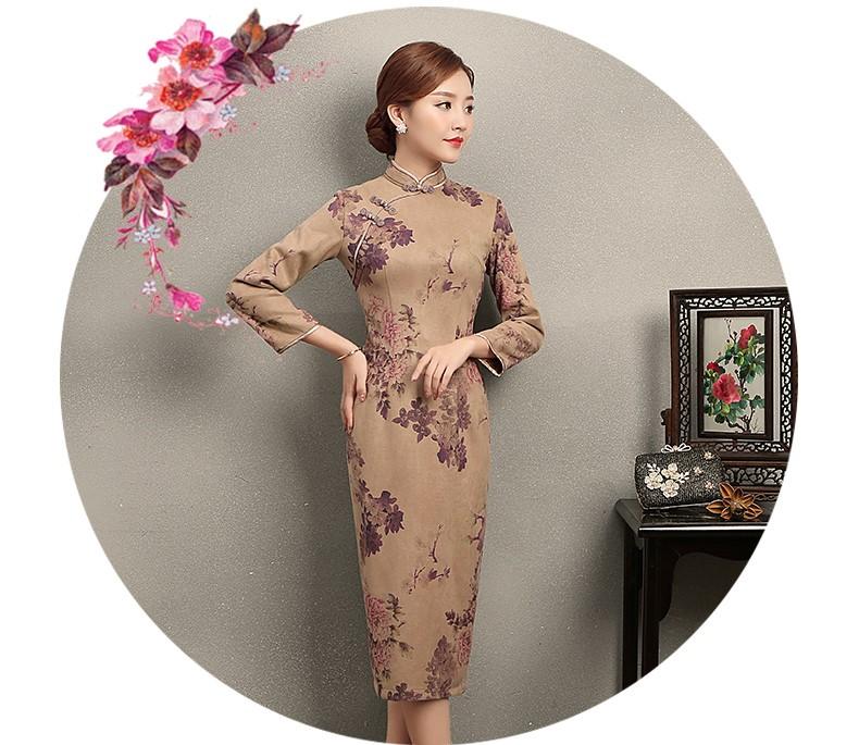 紫云牡丹印花旗袍,复古风旗袍裙