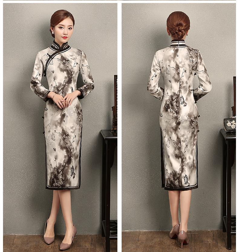墨蝶时尚优雅旗袍,水墨印花旗袍裙