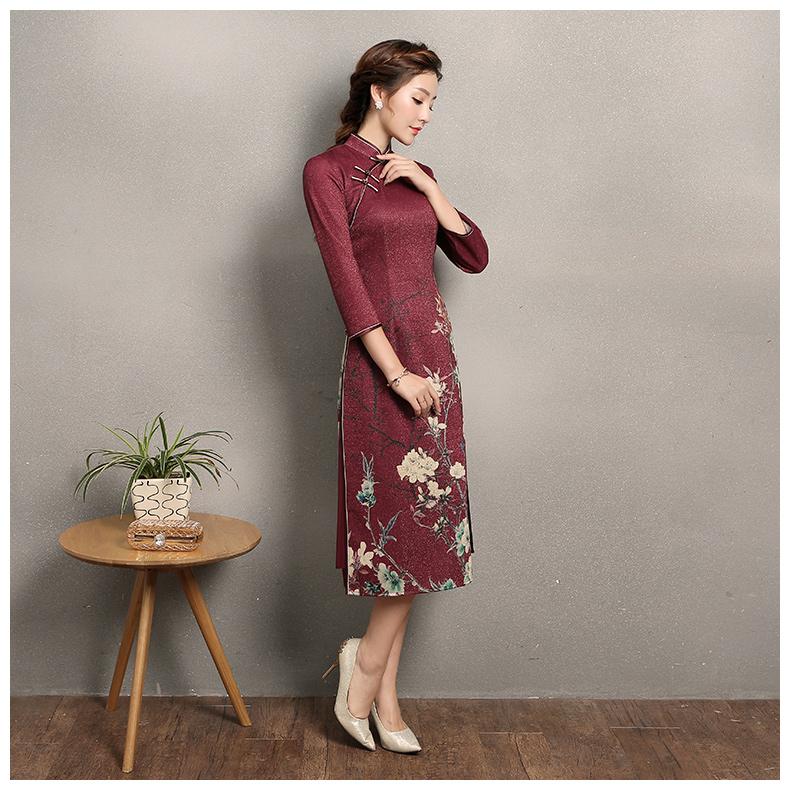 枣红色奥黛风旗袍,复古中式旗袍裙