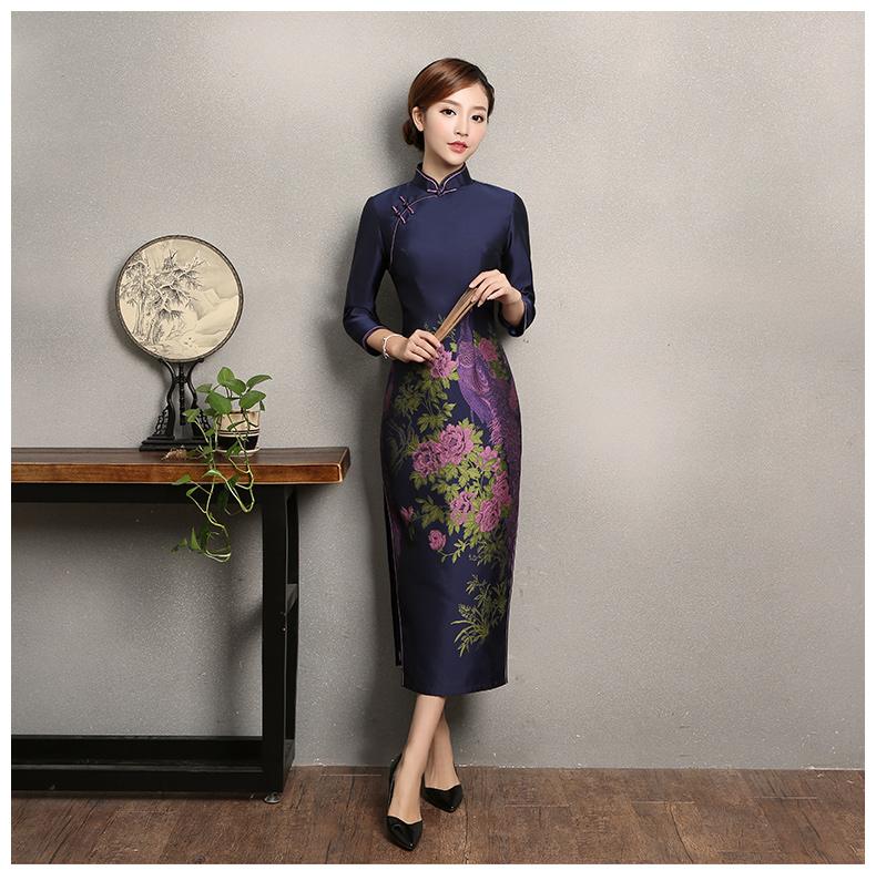 宝蓝色孔雀提花旗袍,复古中式旗袍裙
