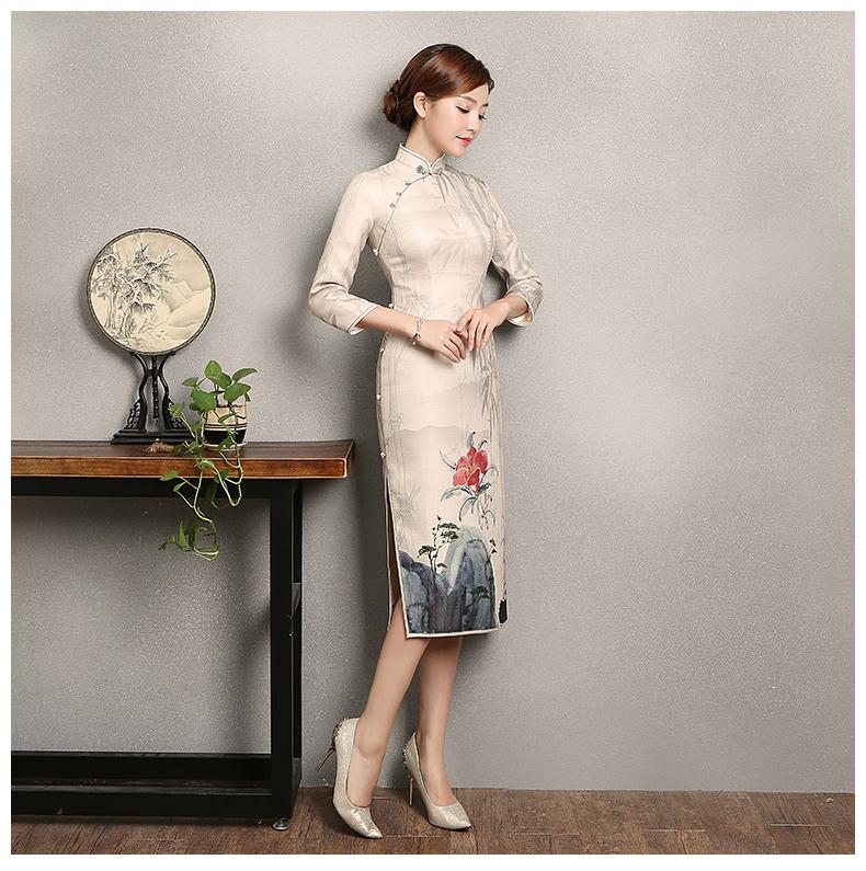 水墨山水印花染旗袍,复古中国风旗袍裙