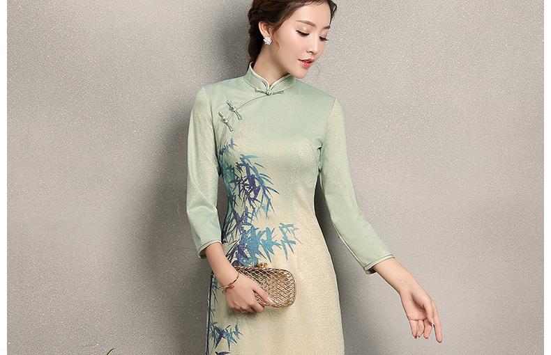 淡绿羞竹印花旗袍,时尚中国风旗袍裙