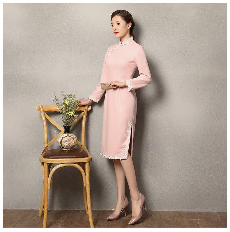 粉色蕾丝花边旗袍,清纯淑女旗袍裙