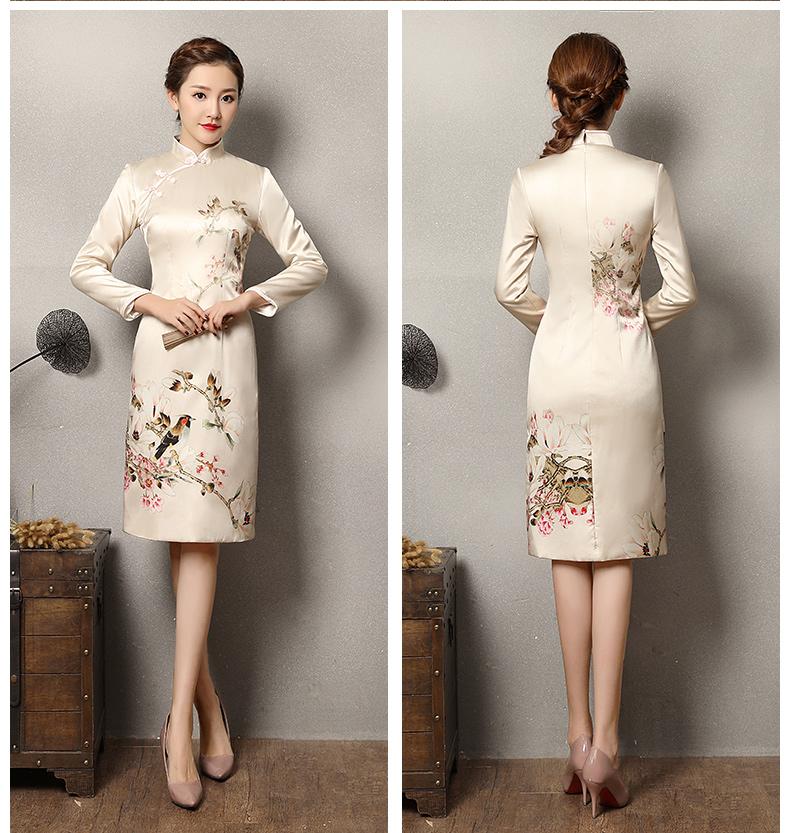 浅杏色乐鹊旗袍,清新复古旗袍裙