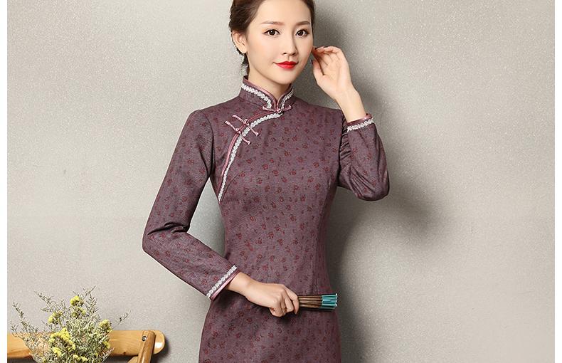 灰紫色雅玉旗袍,复古暗红色小花旗袍裙