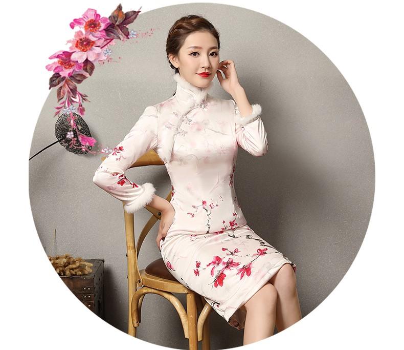 素雅红雪水墨旗袍,复古梅花旗袍裙