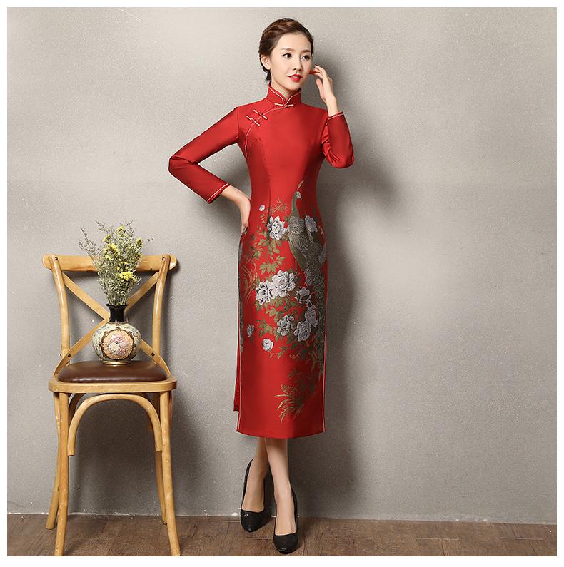 牡丹孔雀红色旗袍,复古火凤旗袍裙