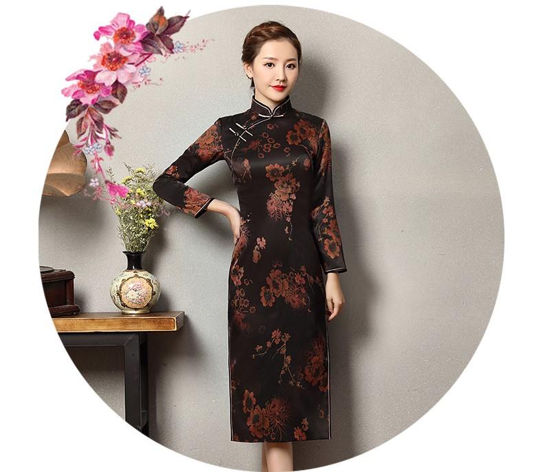 深色印暗红花旗袍,优雅韵放旗袍裙