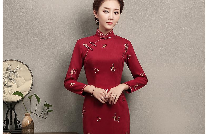 红色印梅花旗袍,鲜艳热情旗袍裙