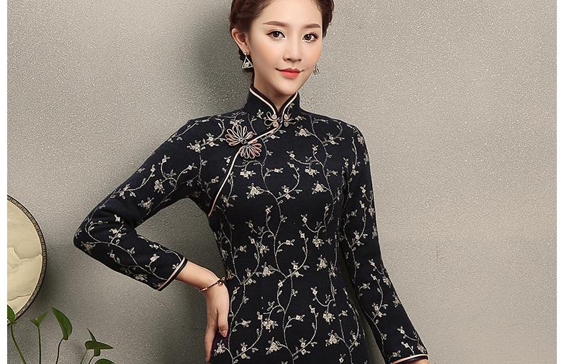 芊枝织花旗袍,复古民族风旗袍裙