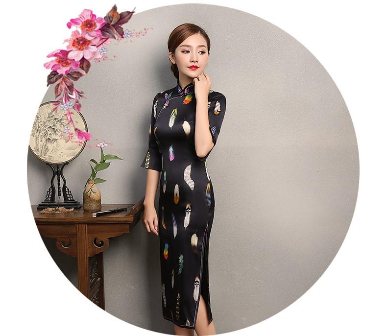 黑色香羽旗袍,蚕丝中袖旗袍裙