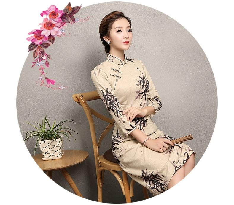 杏色墨竹旗袍,时尚中国风旗袍裙