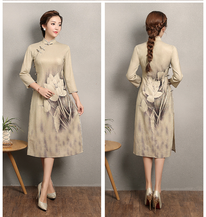 黄色金荷旗袍,时尚中国风旗袍裙