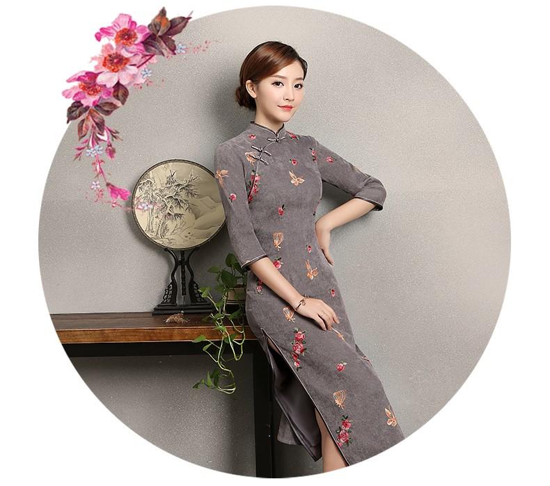 蓝灰色蝴蝶旗袍,优雅复古旗袍裙