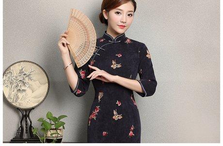 蓝灰色蝴蝶旗袍,优雅复古旗袍