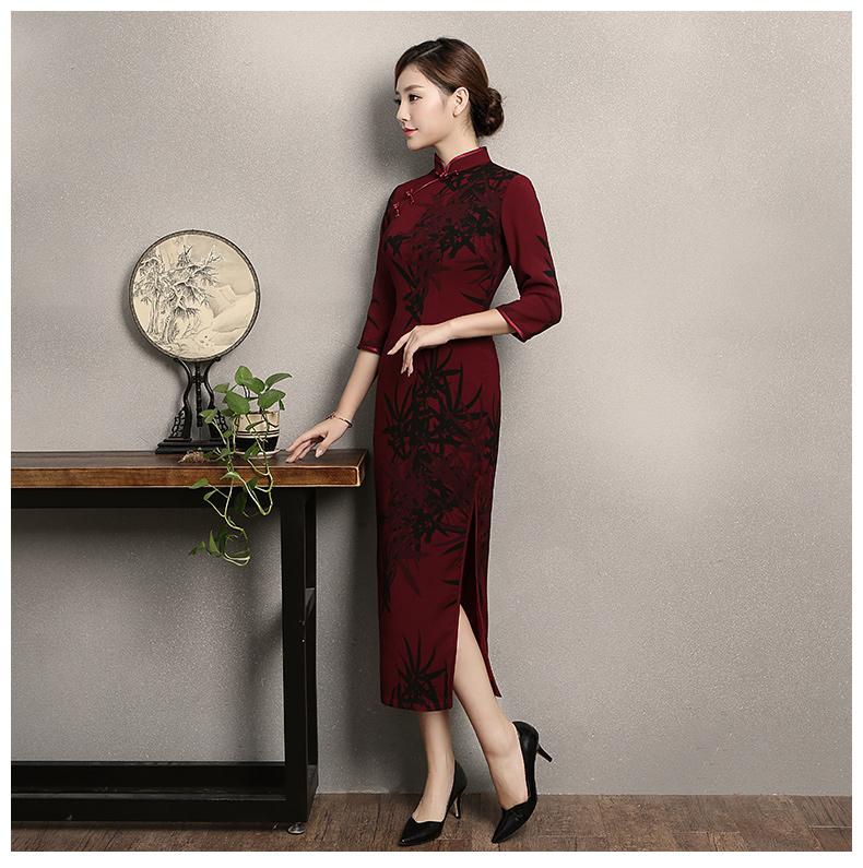 暗红色竹香旗袍,古典中袖旗袍裙