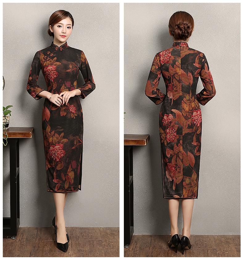 牡丹花色旗袍,古典中袖旗袍裙