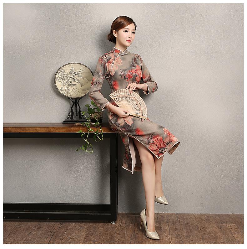 复古风红旦旗袍,中式红花朵旗袍裙