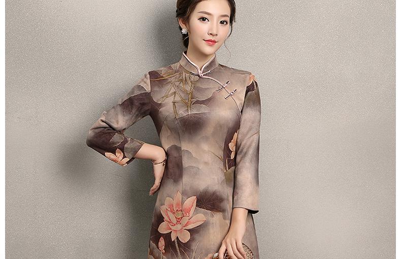 粉荷印花旗袍,中国风复古旗袍裙