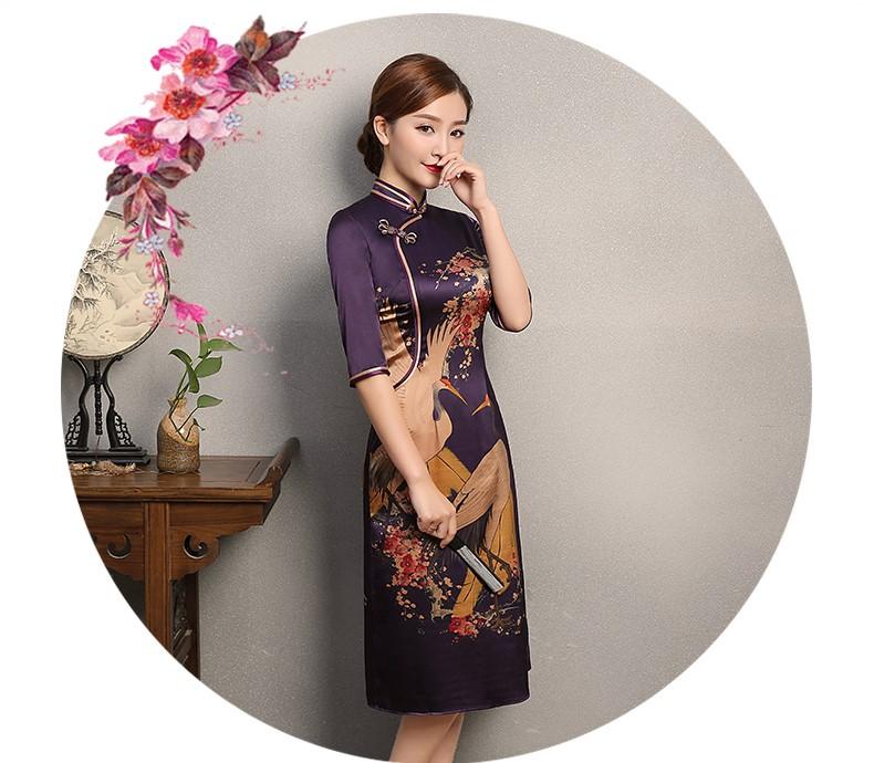 鹤舞紫色旗袍,中国风复古旗袍裙