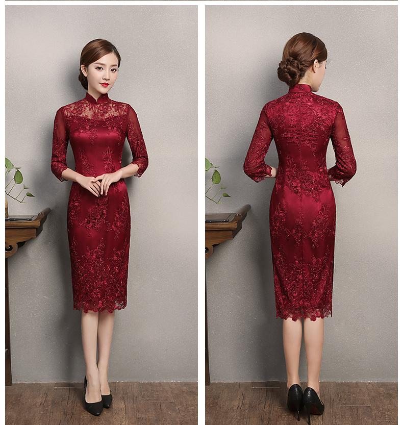 红色蕾丝旗袍,复古刺绣旗袍裙