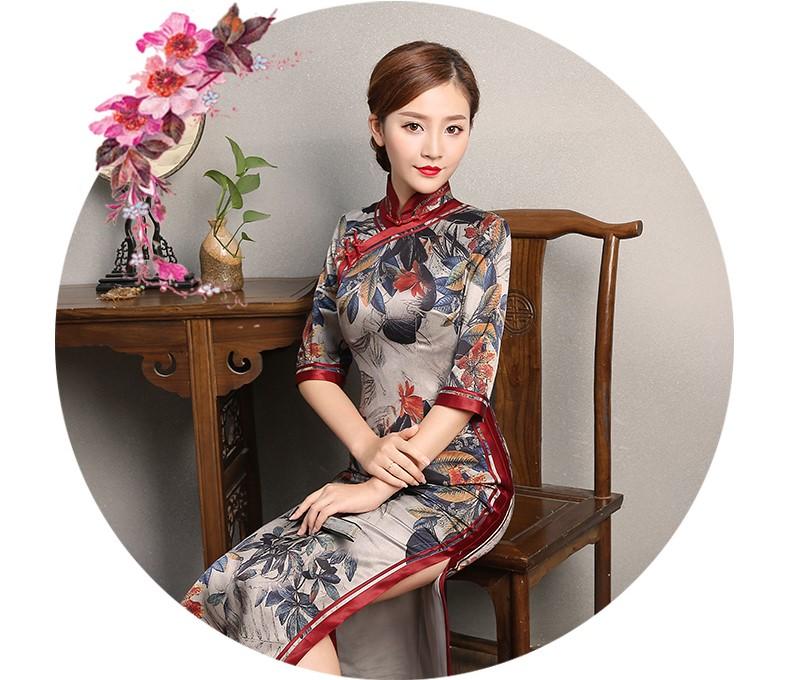 复古典雅旗袍,中袖浪漫印花旗袍裙