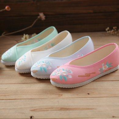 简单别致花朵刺绣平底鞋,复古