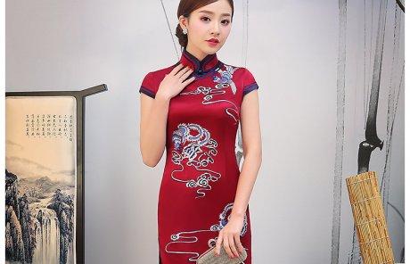 红色云凤刺绣旗袍,短袖真丝旗