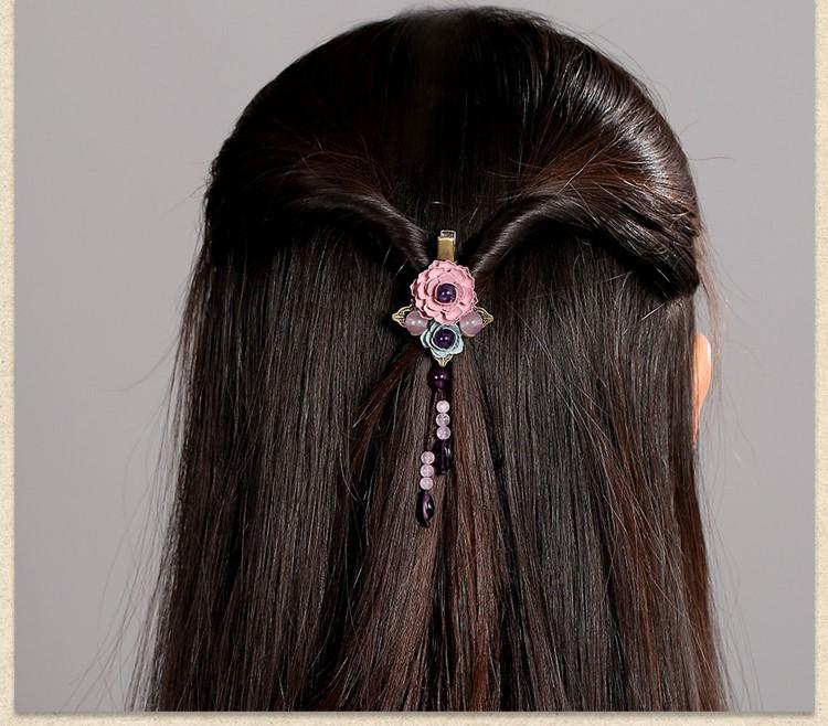 古风紫色花朵发夹头饰