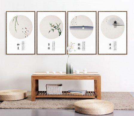 四款新中式禅意水墨画,