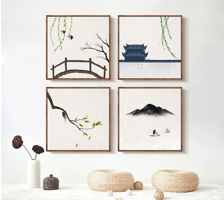 二十四节气水墨禅意,中国风客厅装饰画