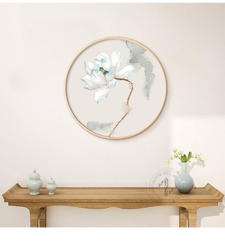 新中式写意莲花中国风圆形装饰画