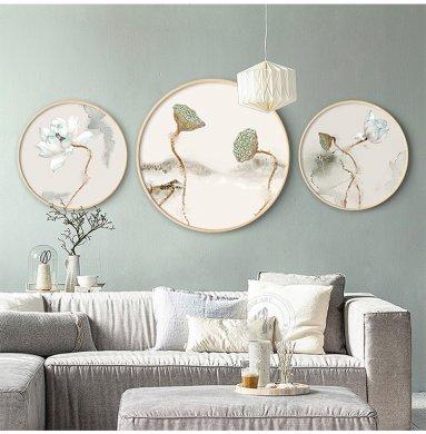 新中式写意莲花中国风圆形装饰