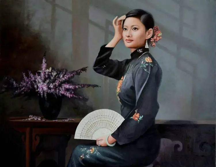风情万种的油画旗袍女子!